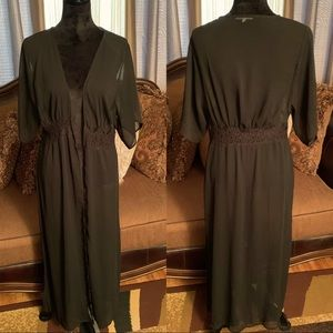 Sheer Black Duster With Lace Waistband